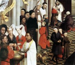 Rogier_van_der_Weyden-_Seven_Sacraments_Altarpiece_-_Baptism,_Confirmation,_and_Penance;_detail,_left_wing